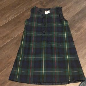 Lands End Hunter Plaid dress school uniform sz 5